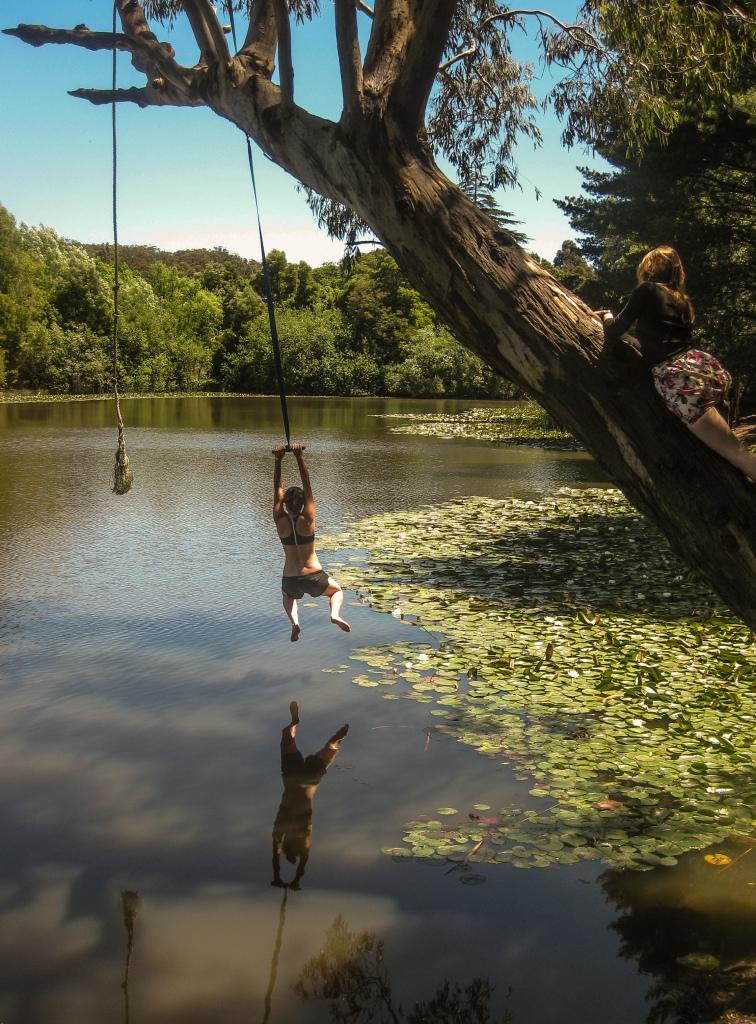 girl swinging on tree into lake